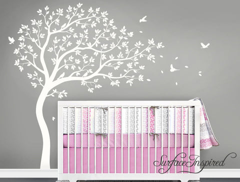 Large Whimsical Summer Tree Wall Decal with Birds. Get custom colors at no charge!