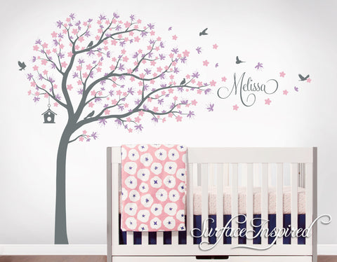 Nursery wall decals stickers large cherry blossom tree with personalized name wall decal melissa style