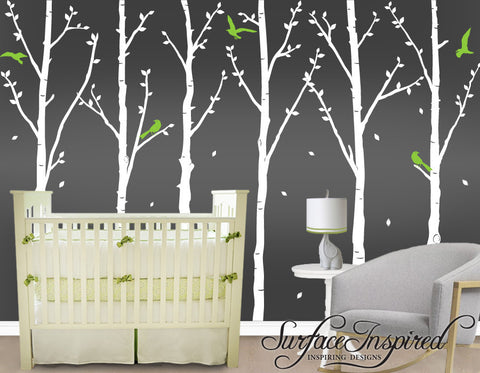 White Winter Tree Wall Decals with Flying Birds and Leaves