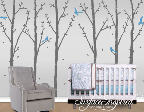Winter Tree Wall Decals with Flying Birds and Leaves