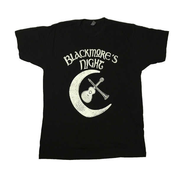 VINTAGE GUITAR AND MOON LOGO BLACK T-SHIRT