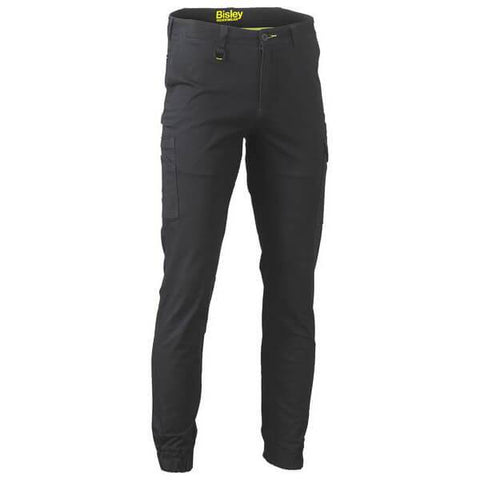 Bisley Stretch Cotton Drill Cargo Cuffed Pants Black