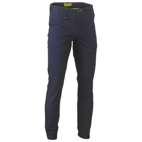 Bisley Stretch Cotton Drill Cargo Cuffed Pants Navy