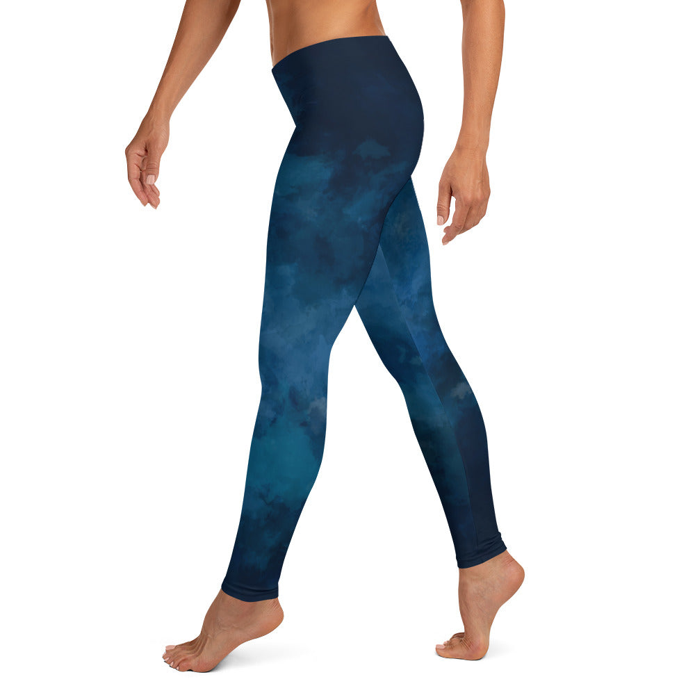 Watercolor Blue Dark Leggings - Noeboutiques