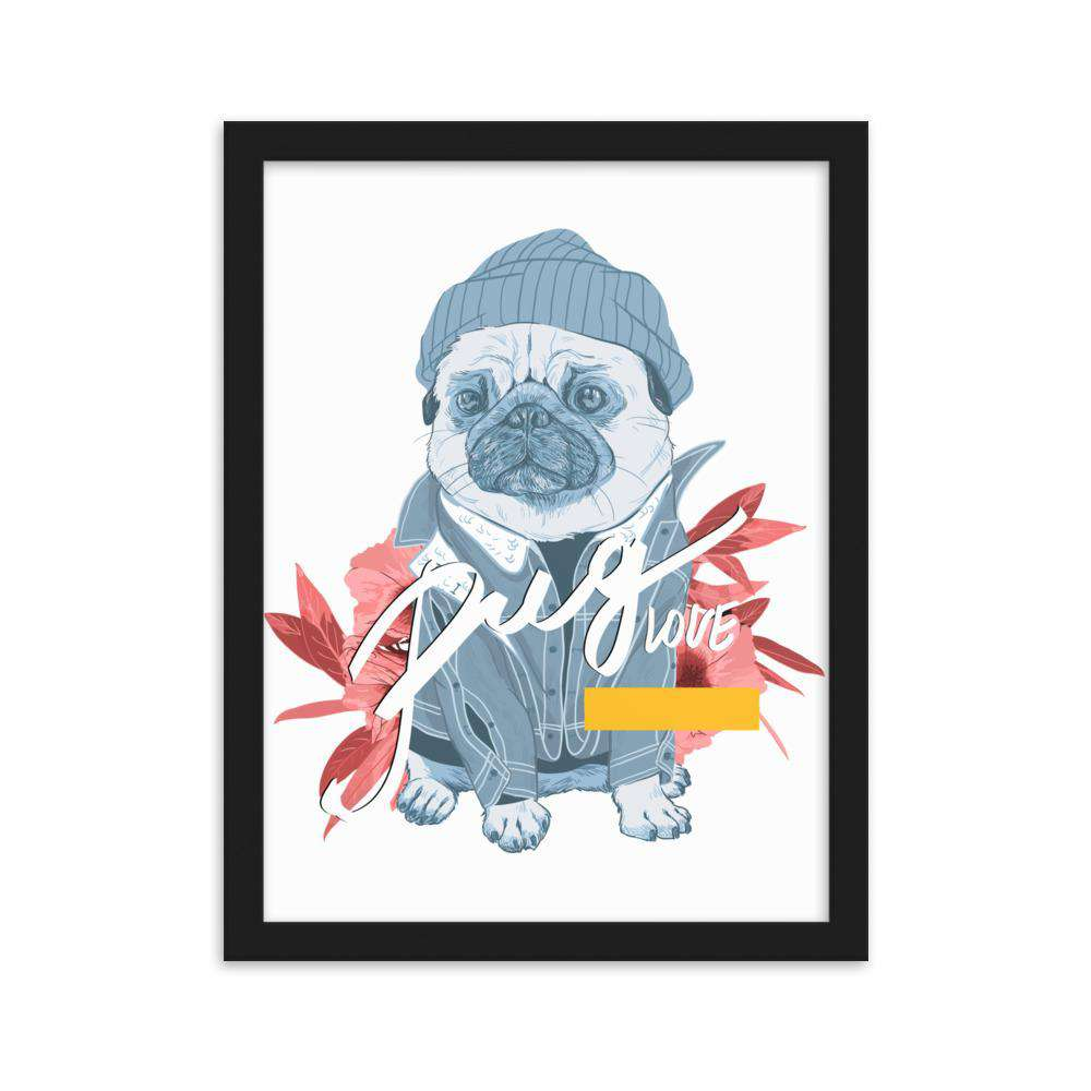 Pug Love Framed Poster - Noeboutiques