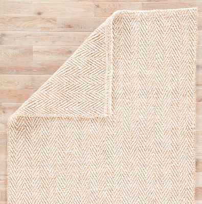White and Beige Herringbone Rug, 2x3
