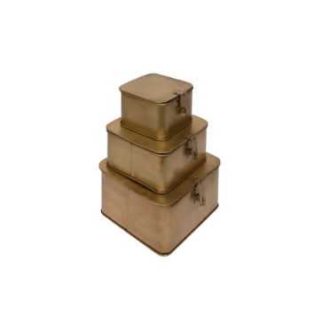 Square Brass Boxes, Set of 3