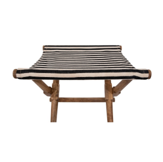 Mango Wood & Cotton Woven Stripe Folding Stool, Black