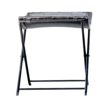 Leather & Metal Stool, Charcoal