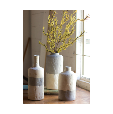 Gray and Cream Ceramic Bottle Vase