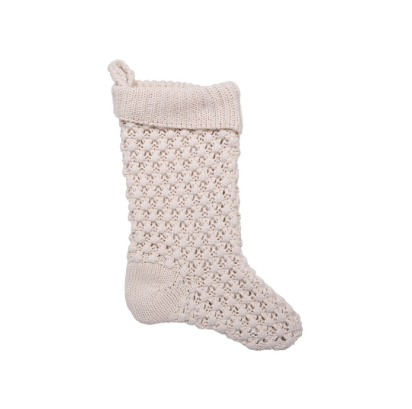 Cotton Knit Stocking, Cream