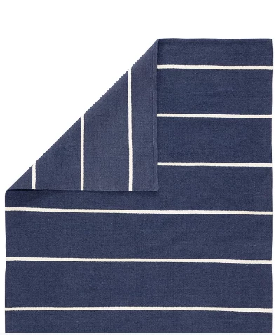 Blue and White Striped Rug, 2x3