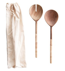 Wood Salad Servers, Bamboo Wrapped Handles
