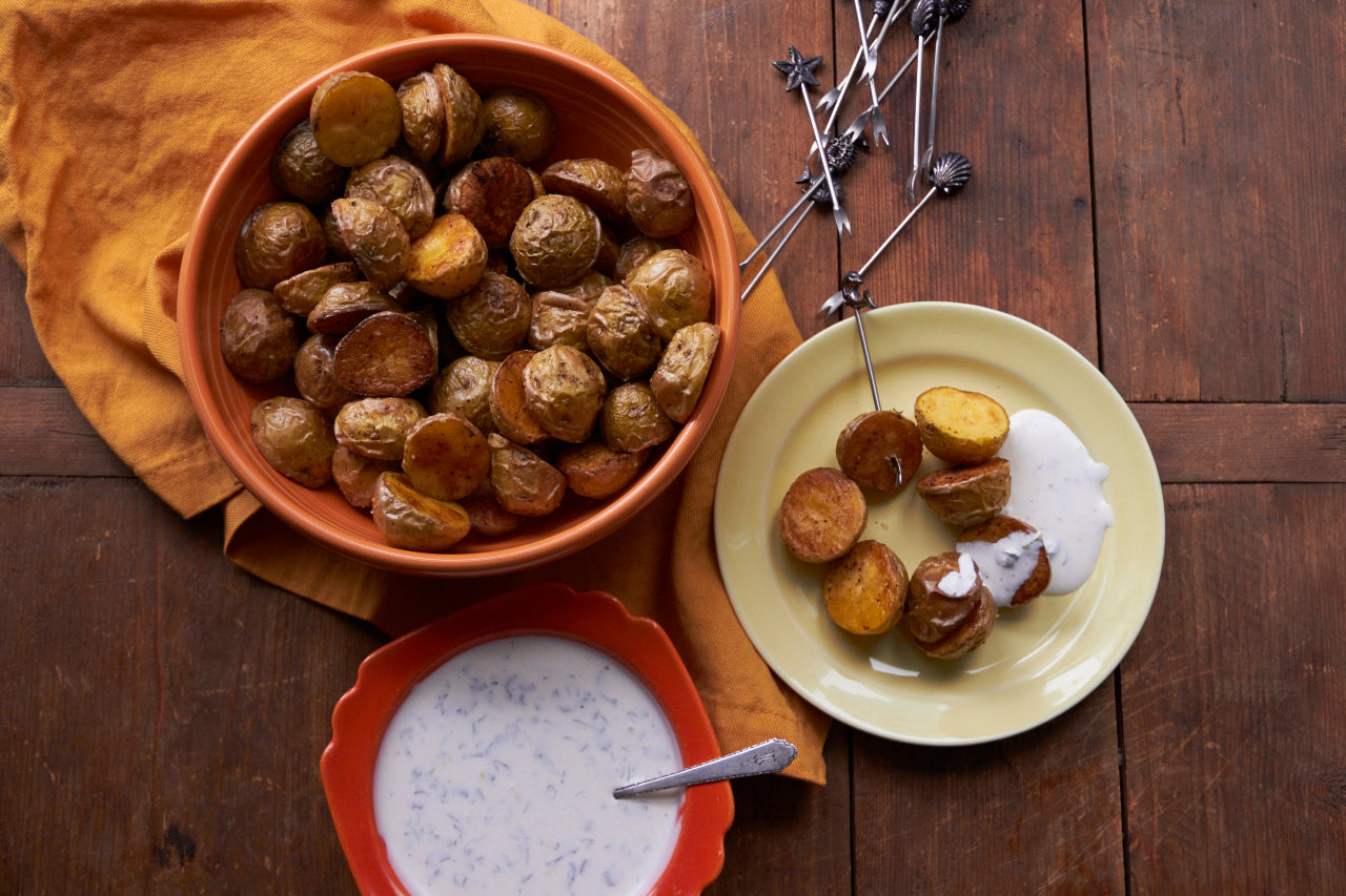 Roasted Potatoes with Creamy Lemon Oregano Dipping Sauce