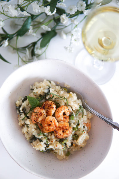 Basil & Green Pea Risotto with Shrimp
