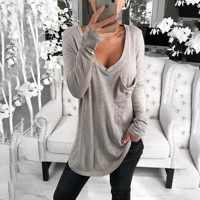 Casual Pure Colour Flap Pocket Deep V Neck Midi T-Shirt
