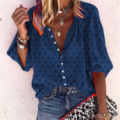 casual daily anchor printed lantern sleeves shirt