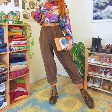 Old  Fashion Pure Color High-Waist Casual Pants