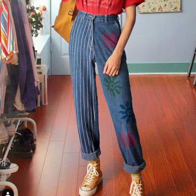 Printed Vertical Striped Roll-up Long Jeans