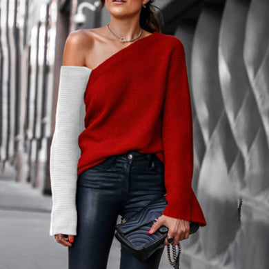Fashion contrast stitching off-shoulder knit top