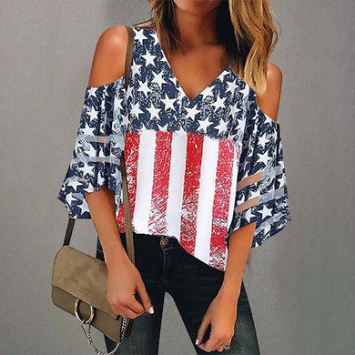 Off-The-Shoulder Flag Print 7-Sleeve Top