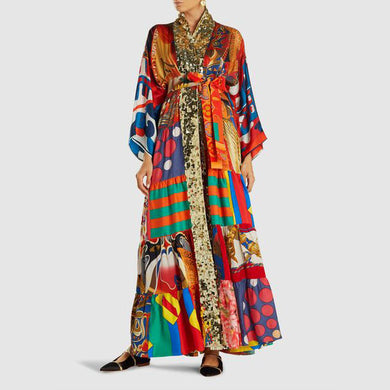 V-neck long cardigan print dress
