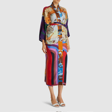 Kimono robe printed cardigan dress