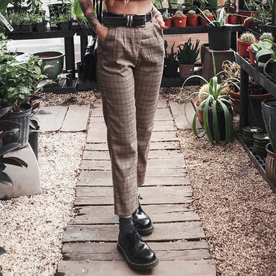 Casual Pocket Plaid Trousers