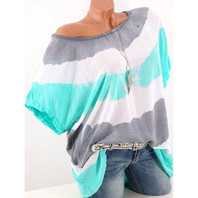 Summer  Polyester  Women  Round Neck  Color Block Short Sleeve T-Shirts