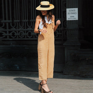 Sexy Slim Thin Khaki Wide Leg Jumpsuit