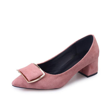 Plain  Chunky  Mid Heeled  Faux Suede  Point Toe  Casual Pumps
