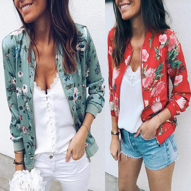 Fashion Long Sleeved Standing Neck Print Jacket