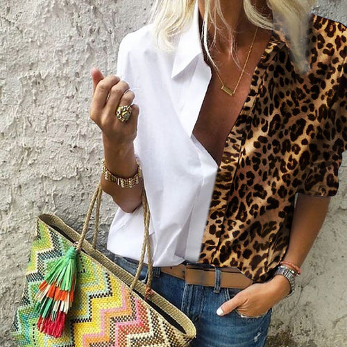 Fashionable lapel leopard print splicing blouse