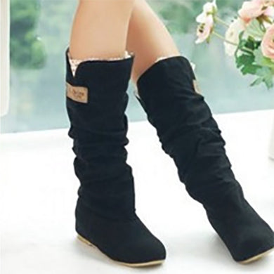 Pleated Lace Flat Bottom High Boots