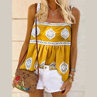 Boho Casual Printed Sling Vest Top
