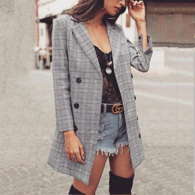 Business Fashion Casual Slim Plaid Double-Breasted Long Sleeve Suit Cardigan