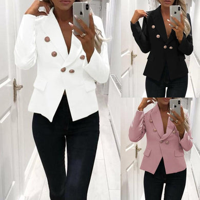 Notch Lapel  Plain Blazers