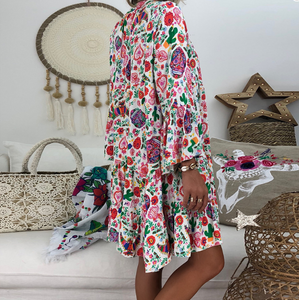 Bohemian Stand Collar Floral Long Sleeve Ruffled Casual Dress