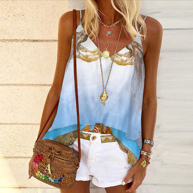 Halter position-printed vest in color