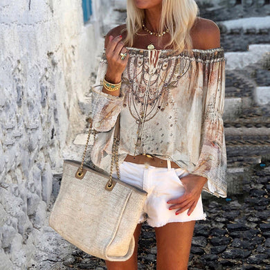 Fashion Word Collar Trumpet Sleeve Print Blouse