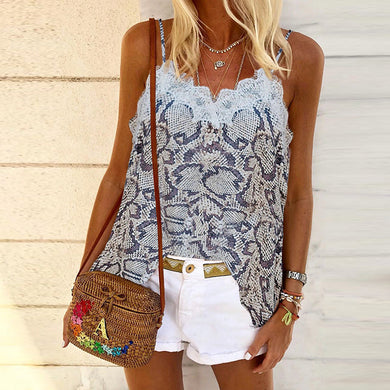 Casual Fashion Sling Print Sleeveless Top T-Shirt