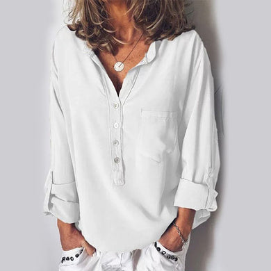 European And American Pure Long-Sleeved Fashion Loose V-Collar Shirt