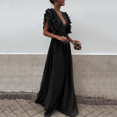 Flash Sale  Sexy V Neck Short Sleeves Evening Maxi Dress