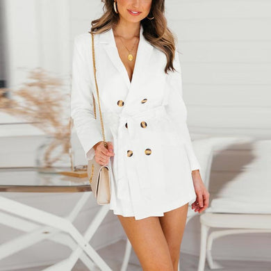 White Lace-Up Fashion Blazer