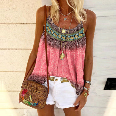 Fashion Sleeveless Printed Sling shirt