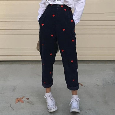 Loose Fitting Heart-Shaped Print Straight Casual Pants