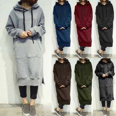 Casual Plain Loose Thicken Long Hoodie