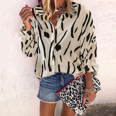 Casual Turndown Collar Printed Blouse