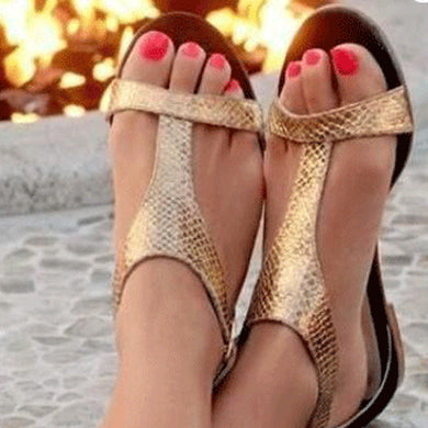 Fashion Flat Gold Open Toe Sandal