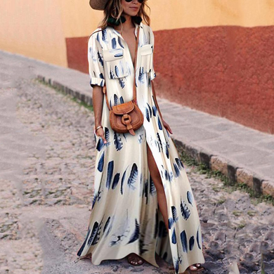 Flash Sale Button Down Collar Stripes Half Sleeve Maxi Dresses